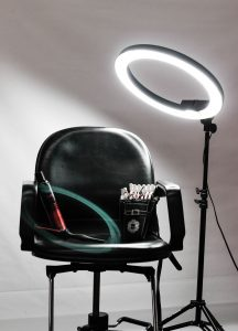 Personal stylist chair with light and make up brushes